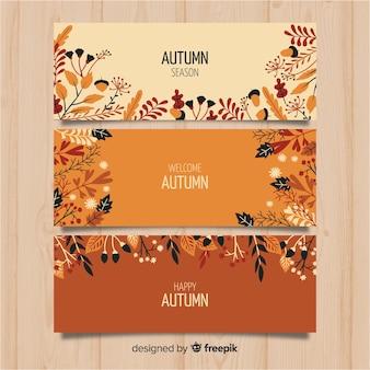 Pacote de banners de outono de mão desenhada
