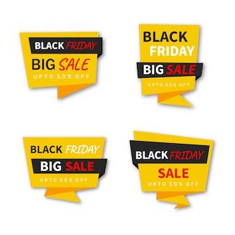 Pacote de banners de promoção de venda de sexta-feira negra abstratos em fundo branco.