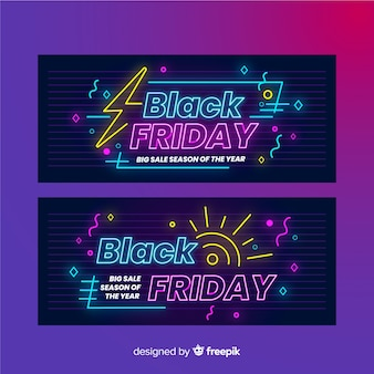 Pacote de banners de sexta-feira negra de néon