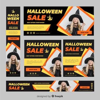Pacote de banners de venda de dia das bruxas