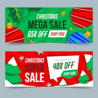 Pacote de banners de venda de natal desing plana