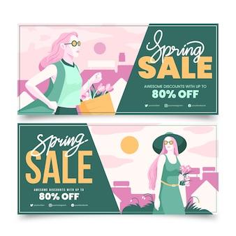 Pacote de banners de venda de primavera de design plano