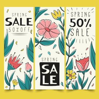 Pacote de banners de venda de primavera desenhada de mão
