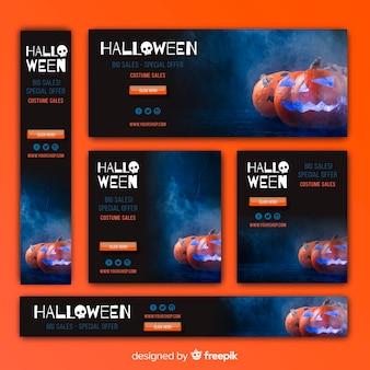 Pacote de banners de venda de web de halloween