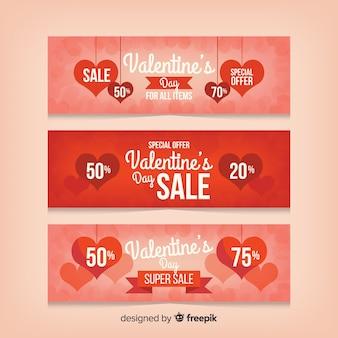 Pacote de banners de venda do dia dos namorados