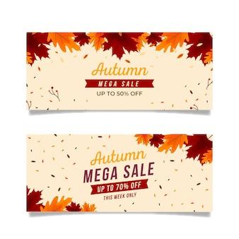 Pacote de banners de venda outono design plano