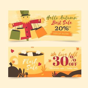 Pacote de banners de venda outono