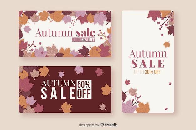 Pacote de banners de vendas planas de outono