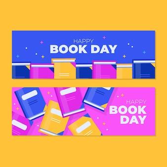 Pacote de banners do dia do livro do mundo plano