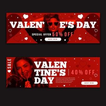 Pacote de banners do dia dos namorados com fotos