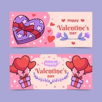 Pacote de banners do dia dos namorados desenhado à mão