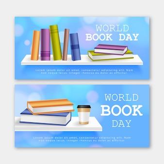 Pacote de banners do dia mundial do livro