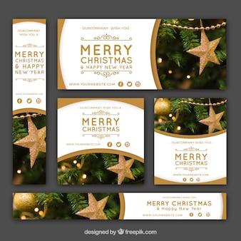 Pacote de banners dourados de natal
