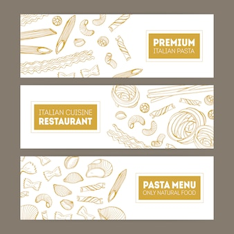 Pacote de banners horizontais da web com vários tipos de massa desenhados à mão com linhas de contorno