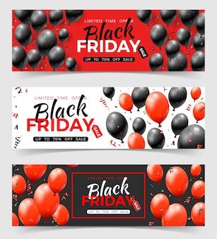 Pacote de banners horizontais de venda de sexta-feira negra com tag de balões vermelhos e pretos brilhantes e confetes