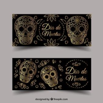 Pacote de banners ornamentais para o dia dos mortos