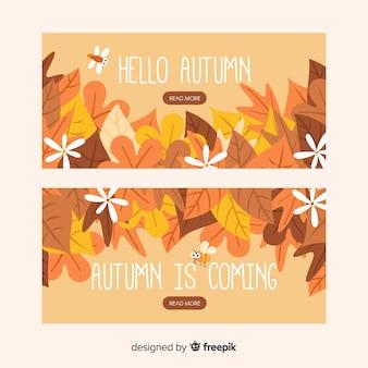 Pacote de banners planas de outono