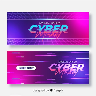 Pacote de banners realistas de cyber segunda-feira