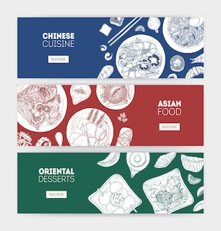 Pacote de banners web horizontais monocromáticos com refeições de cozinha asiática em pratos desenhados à mão com linhas de contorno em fundo colorido. ilustração realista para promoção de restaurante.
