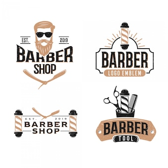 Pacote de barbearia logotipo vintage, estilo moderno