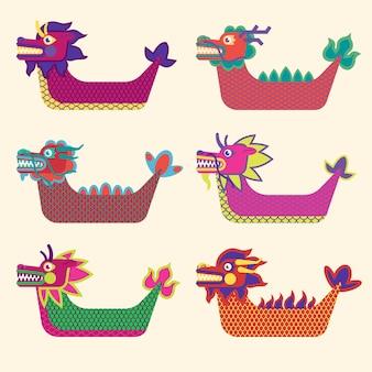 Pacote de barcos de dragão desenhado à mão
