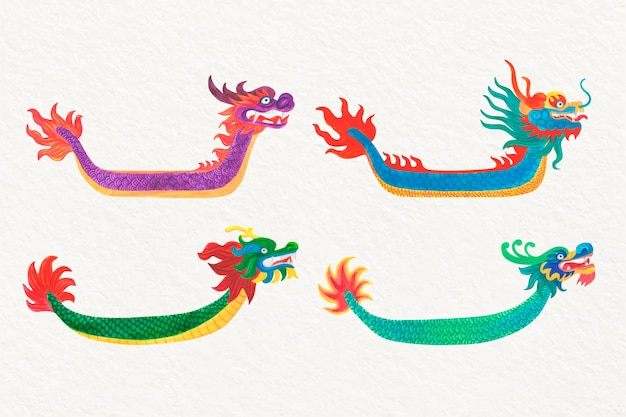 Pacote de barcos de dragão em aquarela
