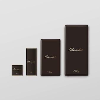 Pacote de barra de chocolate embalagem marrom pacote conjunto