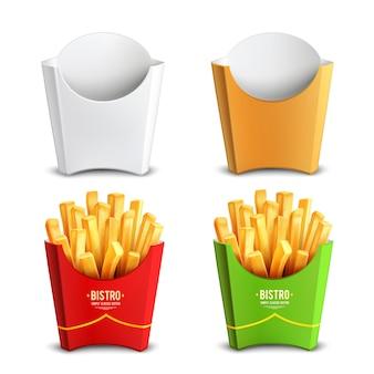 Pacote de batatas fritas design concept