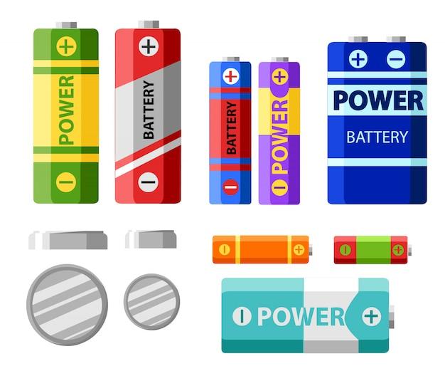 Pacote de bateria. células primárias ou baterias não recarregáveis. células secundárias ou acumuladores. bateria de carro. ilustração da força do banco.
