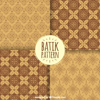 Pacote de batik padrões florais decorativas