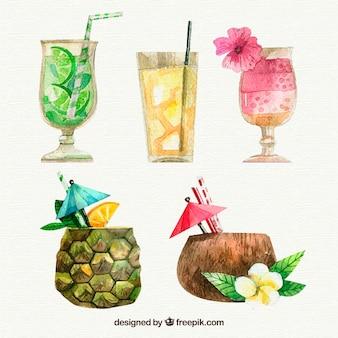 Pacote de bebidas aquarela