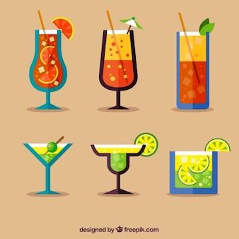 Pacote de bebidas exóticas no design plano
