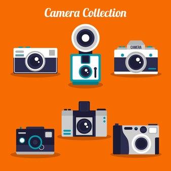 Pacote de belas câmeras retro em design plano