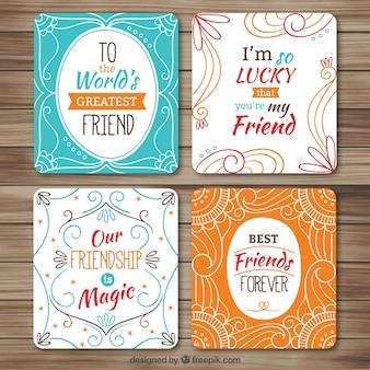 Pacote de belas decorativos cartões da amizade