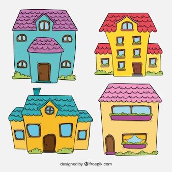 Pacote de belas fachadas de casas desenhadas a mão