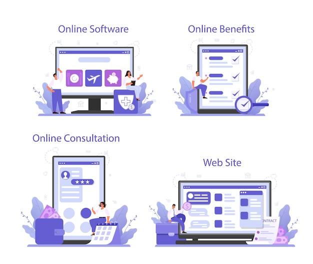 Pacote de benefícios para funcionários, serviço online ou conjunto de plataformas