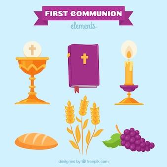 Pacote de bíblia com outros elementos da religião