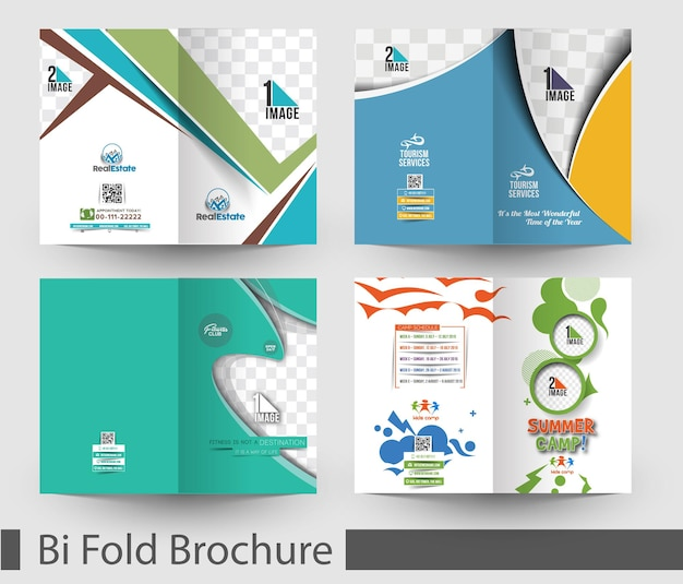 Pacote de bifold mock up amp design de brochura
