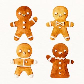 Pacote de biscoitos de homem-biscoito em aquarela