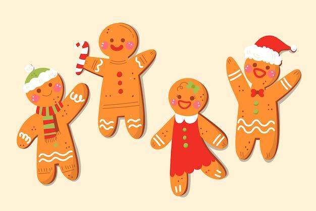 Pacote de biscoitos de homem de gengibre de mão desenhada