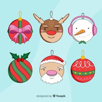 Pacote de bolas de natal de mão desenhada