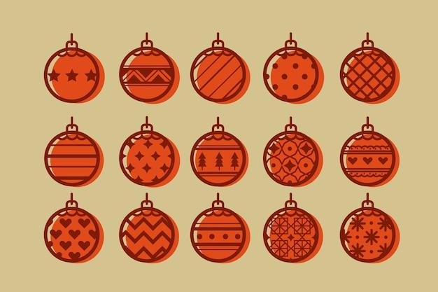 Pacote de bolas de natal em design plano