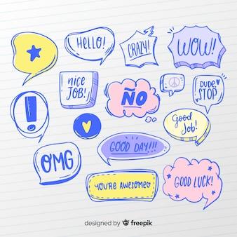 Pacote de bolhas de discurso colorido mão desenhada