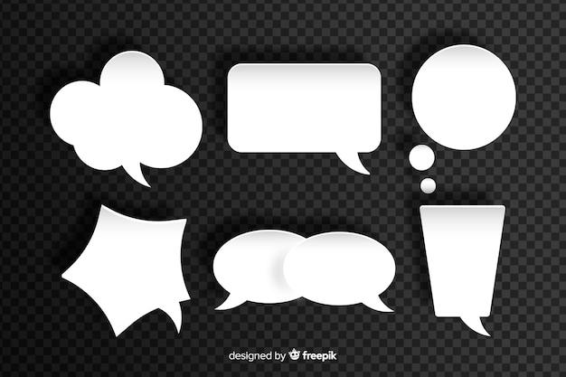 Pacote de bolhas de discurso diferentes de design plano em estilo de jornal