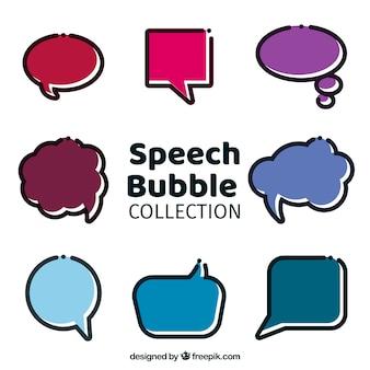 Pacote de bolhas de discurso em estilo linear
