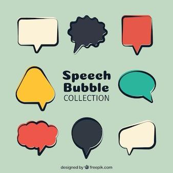 Pacote de bolhas de discurso retro colorido
