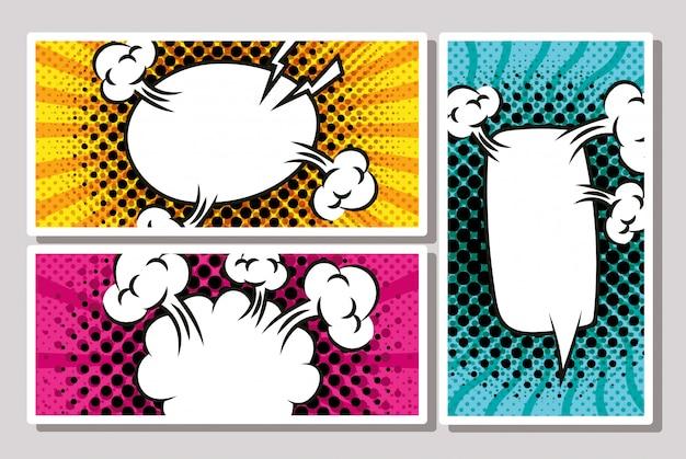 Pacote de bolhas de expressão no estilo pop art