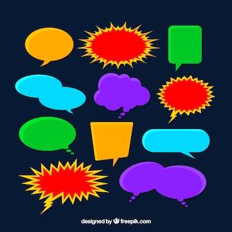 Pacote de bolhas de fala coloridas