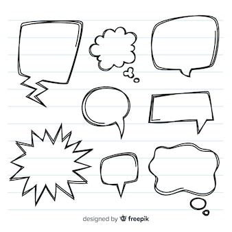 Pacote de bolhas do discurso desenhado mão vazia