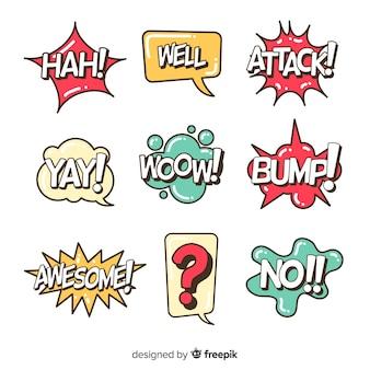 Pacote de bolhas do discurso em quadrinhos